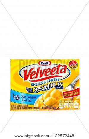 Winneconne WI - 4 February 2015: Box of Velveeta Shells & Cheese made with 2% Milk. Kraft was founded in 1903 and is located in Northfield IL.