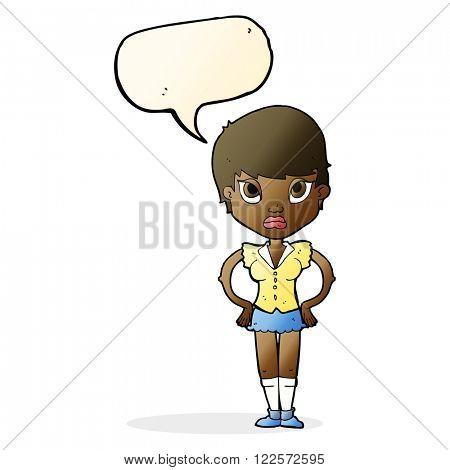 cartoon annoyed girl with speech bubble