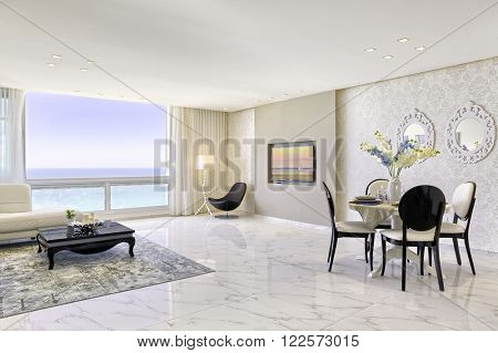 Modern Luxury Living And Dining Room - Home Styling
