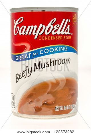 Winneconne WI - 21 Nov 2015: A can of Campbell's beefy mushroom soup