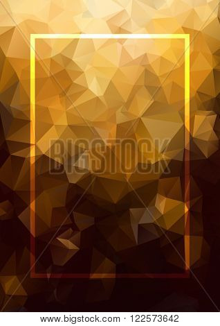 Abstract background gold frame. Geometric abstract vector background, pastel color. Modern and stylish abstract design poster, cover, card design. Vintage texture, dots pattern and geometric elements