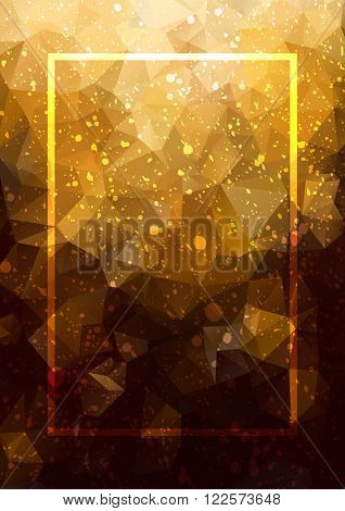 Abstract background gold frame. Geometric abstract vector background, pastel color. Modern and stylish abstract design poster, cover, card design. Grunge vintage texture, dots pattern and geometric