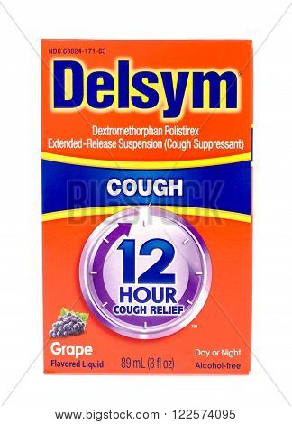 Winneconne WI -15 Oct 2015: Box of Delsym cough suppressant medicine.