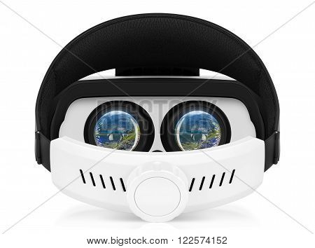 Back view of VR virtual reality headset with turnes on displays. VR is an immersive experience in which your head movements are tracked in 3d world making it ideally suited to games and movies.