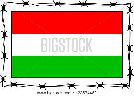hungary flag surrounded by barbed wire border