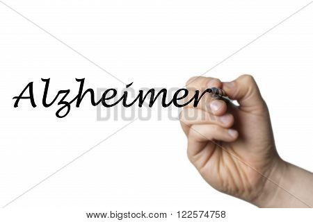 Alzheimer (german Alzheimers) written by a hand isolated on white background