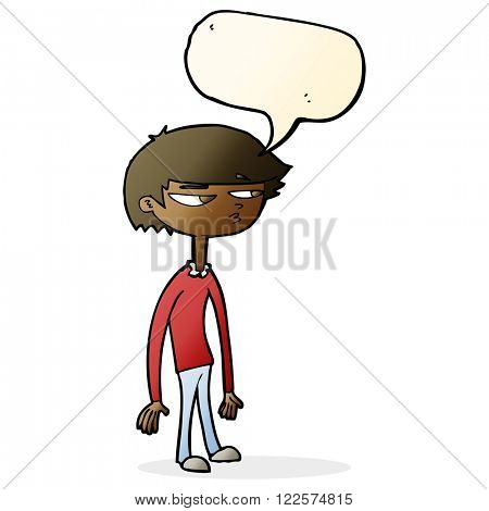 cartoon suspicious boy with speech bubble