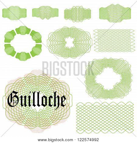 Set of Guilloche elements. Brush to create guilloche elements. Elements ready for your use. Vector illustration.