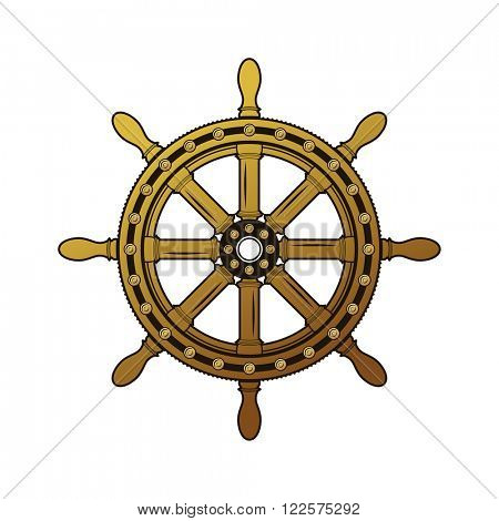 Vintage ship helm logo. Old-fashioned rough obsolete ornate big circle schooner shipswheel. Vector color freehand drawn grunge background emblem antiquity style of pen on paper with space for text