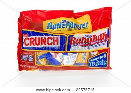 Winneconne WI - 8 February 2015: Bag of assorted candy bars made by Nestle Butterfinger Crunch and Babyruth.