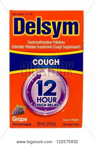 Winneconne WI -1 Oct 2015: Box of Delsym cough suppressant medicine.