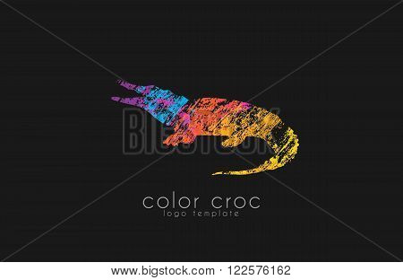 crocodile logo design. color croc. animal logo.