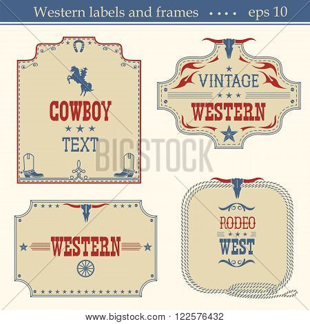 Wild West American Labels.vector Vintage Boards Isolated On White