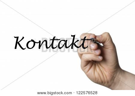Kontakt (german Contact) written by a hand isolated on white background