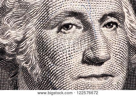 George Washington, a close-up portrait on US one dollar