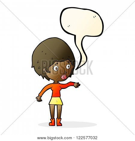 cartoon concerned woman reaching out with speech bubble