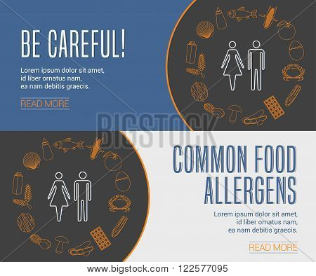 Collection of two templates for food allergens related internet banners