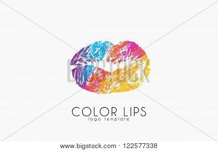 Lips logo design. Woman lips. Color lips. Beautiful lips.