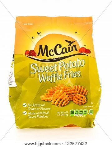 Winneconne WI - 18 August 2015: Bag of McCain sweet potato waffle fries.