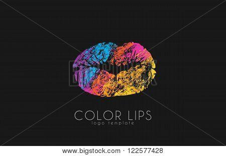 Lips logo design. Woman lips. Color lips. Beautiful lips.