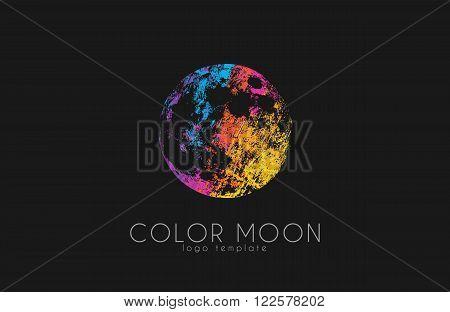 Moon logo design. Color moon. Cosmic logo. Space logo. Creative logo design.