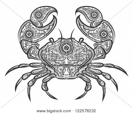 Crab zentangle icon. Vector hand drawn line crab image on white background