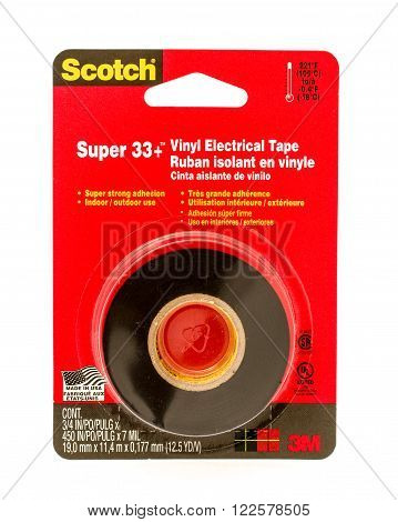 Winneconne WI - 9 Sept 2015: Package of Scotch electrical tape made by 3M.