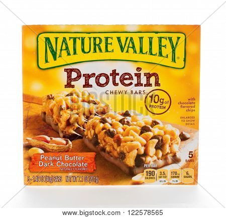 Winneconne WI - 7 February 2015: Box of Nature Valley Protein Peanut Butter Dark Chocolate. chewy bars.