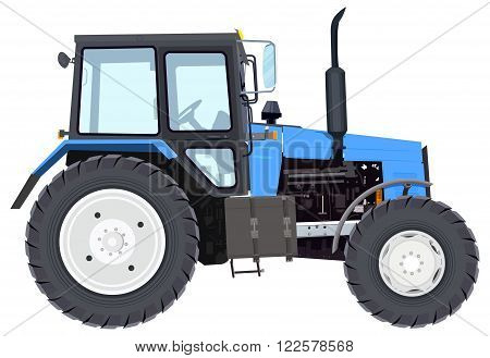 Blue new tractor. Agricultural machinery. Wheeled tractor. Isolated on white vector illustration