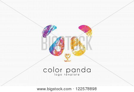 Panda logo design. Color panda. Animal lofo. Creative logo. Sweet logo.