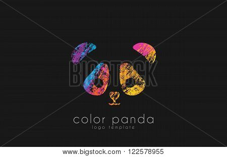 Panda logo design. Color panda. Animal lofo. Creative logo. Sweet logo.