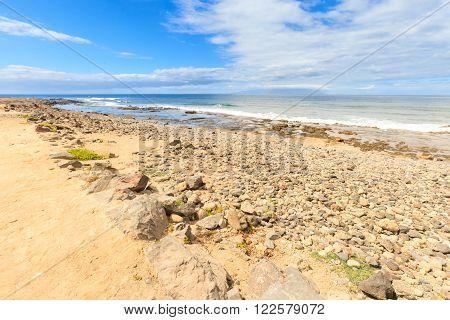 Summer seascape on tropical island Tenerife Canary in Spain. Playa de Las Americas