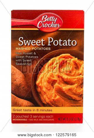 Winneconne WI - 8 February 2015: Box of Betty Crocker Sweet Potato mashed potatoes.
