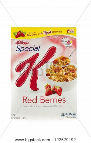 Winneconne, WI - 5 February 2015: Box of Kellogg's Special K Red Berries cereal. Marketed as a low fat cereal.