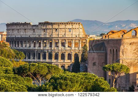 View on Colosseum in Rome, Italy