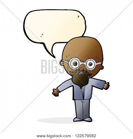 cartoon genius scientist with speech bubble