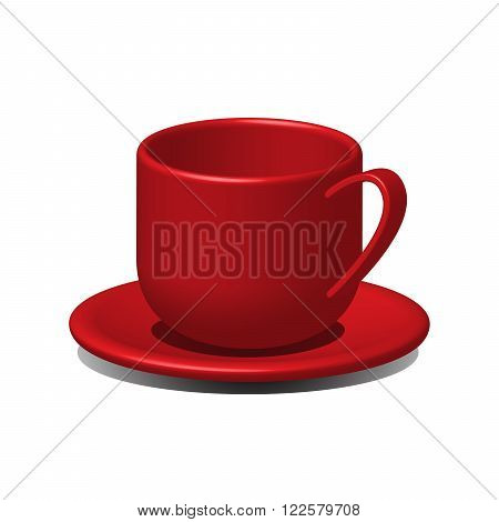red tea cup red coffee cup on a saucer vector 3D illustration