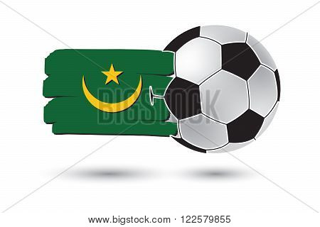 Soccer Ball And Mauritania Flag With Colored Hand Drawn Lines