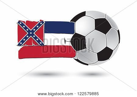 Soccer Ball And Mississippi State Flag With Colored Hand Drawn Lines