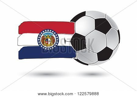 Soccer Ball And Missouri State Flag With Colored Hand Drawn Lines