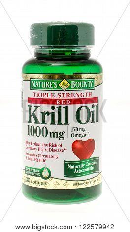 Winneconne WI - 26 Nov 2015: Bottle of krill oil made by Nature's Bounty.