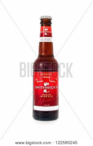 Winneconne WI - 3 February 2015: Smithwick's Preimim Irish Ale beer was first brewed in 1710 in Ireland.