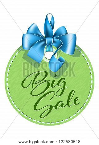 Round green tag with blue bow on white background