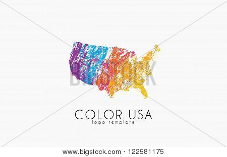 USA logo. Color map of USA. America logo design.
