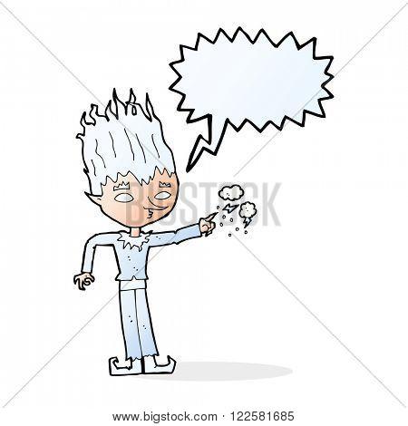 jack frost cartoon with speech bubble
