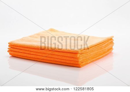 Orange Cleaning Clothes Isolated On White
