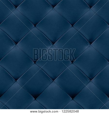 Blue genuine leather upholstery background. Luxury pattern.