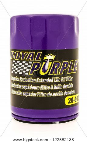 Winneconne WI - 23 August 2015: Royal purple oil filter used on vehicles.