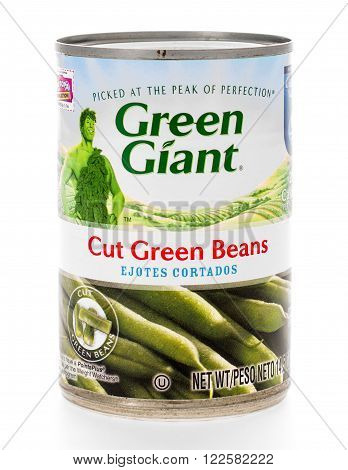 Winneconne WI - 8 February 2015: Can of Green Giant Cut Green Beans.