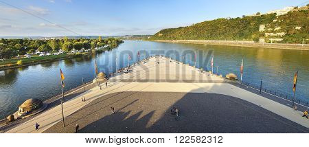 Confluence of Rhine and Mosel rivers in Koblenz.